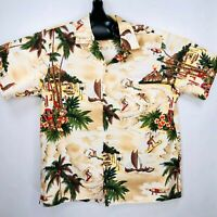 RJC Mens XL Hawaiian Shirt SS Blue White Floral Cotton Made in Hawaii USA Aloha