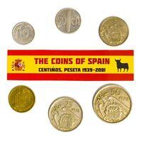 SPAIN SET OF 6 COINS: 10, 50 CENTIMOS, 5, 25, 50 PESETAS FRANCISCO FRANCO LOT