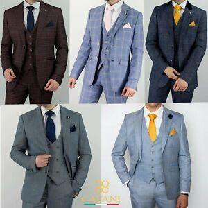 Mens Cavani Check Tweed Blue Peaky Blinders Wedding Tailored Fit 3 Piece Suit