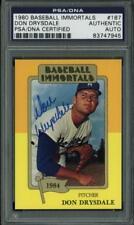 Dodgers Don Drysdale Signed Card 1980 Baseball Immortals #187 PSA/DNA Slabbed