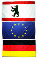 3er Set Fahne Berlin Europa Deutschland quer 90 x 150 cm Hiss Flaggen