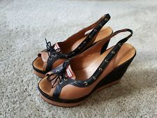 Hunter Women's Abaco Slingback Wedges Size 9.5 Tan and Black Leather