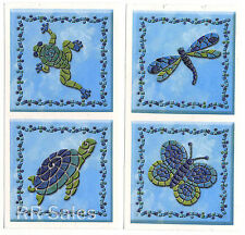 Dragonfly Turtle Blue Confetti Tile Cover Decal Bathroom Mosaic Sticker IdeaStix
