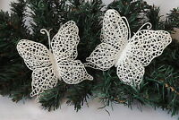 Pair Wedding / Christmas Tree Decorations White Filigree Lace Butterfly Set of 2
