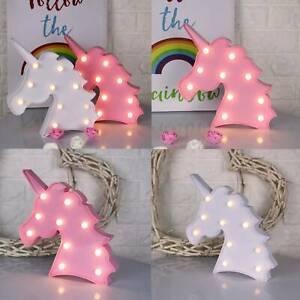 3D Animal Unicorn LED Night Light Up Wall Lamp Baby Kids Bedroom Decor Pink