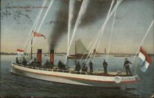 Amsterdam Fire Fighting Rescue Boat Fire Fighters Brandweer c1910 Postcard