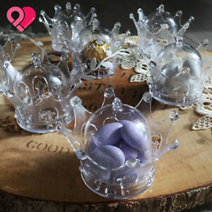 Clear Mini Acrylic Plastic Crown Baby Shower Wedding Party Favor Candy Gift Box