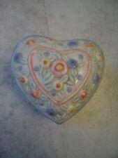 """Ceramic Floral Heart Shaped Trinket Box 4"""" L X 4"""" W X 2 ½""""T"""