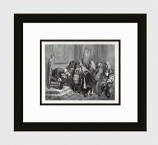 "1800s Gustave DORE Fairytale Woodcut ""The King Needs a Bride"" SIGNED Framed COA"