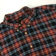 LL Bean Flannel Shirt Size 2X Red Blue Plaid Cotton Lumberjack Grunge Casual