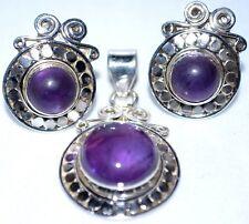 Vintage lk 925 Sterling SILVER SET Purple Amethyst Pendant Earring stud Earrings