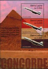 MODERN GEMS - Sierra Leone - The Concorde G-AXDN Over Egypt - Sheet of 3 - MNH