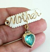 Vtg MOTHER GF Wire Mother of Pearl Aqua Blue Heart Locket Dangle Pin