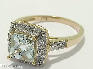 R102 Genuine 9ct Gold NATURAL Princess-cut Aquamarine & Diamond ENGAGEMENT Ring