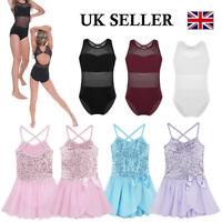 UK_Girls Ballet Dance Leotard Dress Sequined Kids Gymnastics Tutu Skirt Costumes
