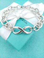 """Genuine Rare Tiffany & Co Silver Chunky Infinity Link Bracelet 7.75"""" VG Conditio"""