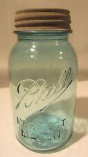 Ball Perfect Mason Open-B Dropped-A Underscore Aqua Blue Round Quart Jar-1910-23