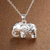 *UK Shop* 925 SILVER PLT ELEPHANT PENDANT NECKLACE HOLLOW PATTERNED BABY LUCKY