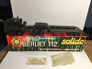 Solido 211 Army Berliet T12 Tank Transporter Mint In Box With Unused Stickers