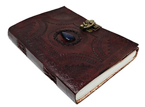 10 Inch Leather Journal with blue stone Writing Pad Blank Notebook Handmade For