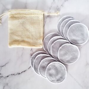 12pcs Reusable Bamboo Cotton Make Up Remover Pads Zero Waste Organic Washable