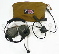 TCI Liberator II Tactical Headset Single COM PTT Set GEL Inserts SERVICED SOCOM