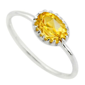 2.27cts Solitaire Natural Yellow Citrine 925 Sterling Silver Ring Size 9 T40959