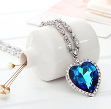 Titanic Memory Blue Sapphire Heart Of Ocean Crystal Cz Pendant Necklace Gift