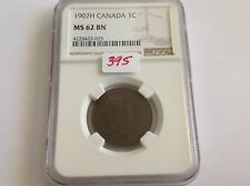 1907H Canada 1C NGC MS 62 Brown