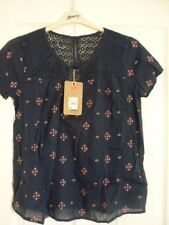 MANTARAY NAVY DIAMOND EMBROIDERY & LACE TRIM TOP. UK 18, EUR 44-46, US 14. BNWT