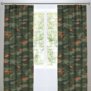 """Army Camouflage Curtains Military Camo Pencil Pleat Lined Curtains Green 66x72"""""""