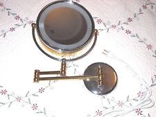 2 Sided Swivel Halo Lighted Wall Mount Mirror 5x/1x Magnification Gold/Chrome