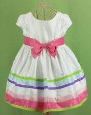 299 Gymboree girl dress satin party wedding holiday white pink stripe EUC 18-24m