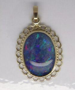 Opal Doublet Fancy Oval Pendant - 9ct Yellow Gold - 24x20mm
