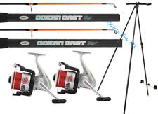 2 x 14ft Beach Caster Sea Fishing Rod & Reel Set Silk70 Reels & Tripod Oceancast