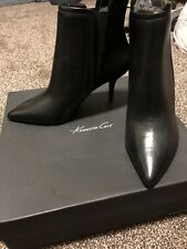 Kenneth Cole New Sexy Black Leather Pointy Toe Ankle Booties Heels 6M Women