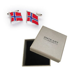 Pair Of Norweigan National Flag Cufflinks & Gift Norway Box by Onyx Art