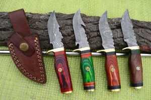 """6"""" MH KNIVES CUSTOM HANDMADE DAMASCUS STEEL LOT OF 4 HUNTING/SKINNER KNIFE LOT2T"""