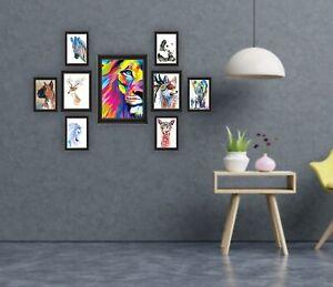 [Set of 9] Picture Frames Assorted Sizes Black Photo Frameset Office Home Decor