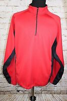 Champion Men's XL Red Black 1/4 Zip Long Sleeve Polyester Athletic Pullover