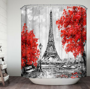 """Eiffel Tower Red Flower Trees Fabric Shower Curtain 70"""" Paris France"""