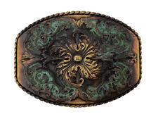 Antique Brass Southwestern Patina  Finish Western Cross Decorative Belt Buckle