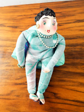 Vintage Ceramic Mother In Law On Chair Sculpture Signed Novelty Mixed Media Art