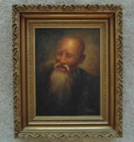 Vintage Confucius Portrait Oil Painting Chinese Asian Oriental