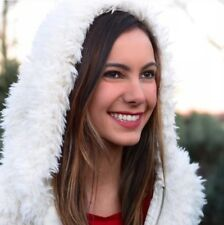 NWT Aeropostale Winter White Hooded Fuzzy Faux Fur Bomber Jacket Size Small