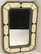 Vintage Moroccan Mirror, octagonal shape in Camel bone