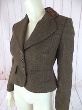 Banana Republic Blazer 2P Brown Plaid Wool Alpaca Shorty Beaded Collar