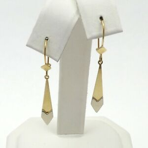New 14K Two Tone Gold Arrow Dangle Whimsical Earrings