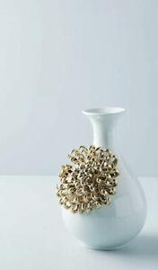 NEW Anthropologie 3D Gold Blue Chrysanthemum Flower Ceramic Bloom Vase LARGE