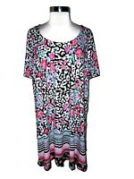 JESSICA LONDON Plus Size 2X 18 20 Tunic Top Black Pink Floral Short Sleeve
